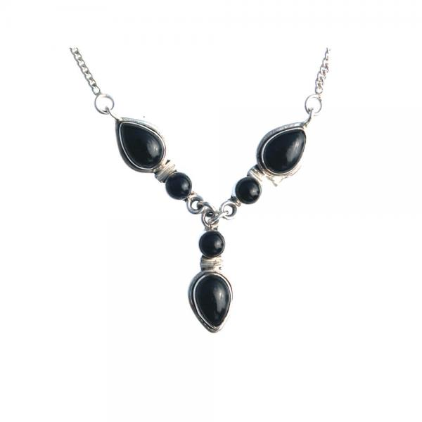 Silberkette 925 Sterling mit Onyx